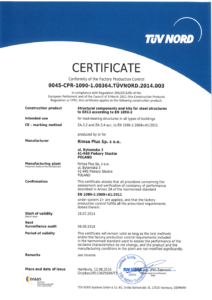 Certyfikat EN 1090