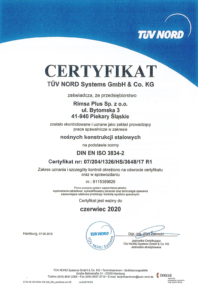 Certyfikat ISO 3834